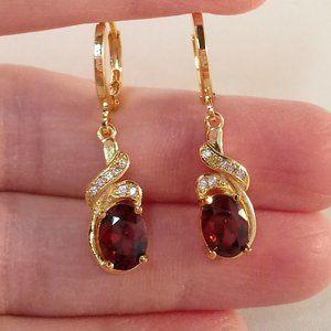 18K Gold Red Garnet Topaz Zircon Swirl Earrings GF